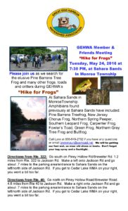 GEHWA Annual Hike for Frogs - Tuesday, May 24, 2016 at 7:30 PM